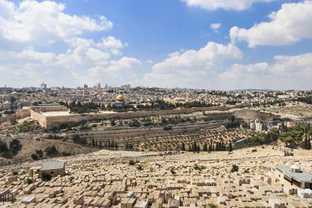 A view into Jerusalem from the Mount of Olives, overlooking Gethsemane, cemetery, and the Temple Mount