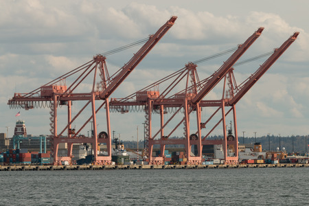 inactive: Inactive container cranes at the Port of Seattle waiting for ships to dock to off-load containers.