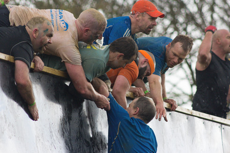 Boughton House, NorthamptonshireUK - May 4:  Tough Mudders who conquered Everest lend support to others  at the annual Tough Mudder extreme sports competition on May 4, 2013 in Northamptonshire, UK.