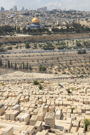 Overview of the cemetery at the Mount of Olives, with the Temple Mount and Dome of the Rock in the background