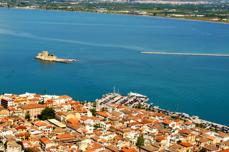 bird s eye view: Bird s eye view of the town of Nafplio, Greece and the Bourtzi Castle island, located in the middle of the harbour of Nafplio Stock Photo
