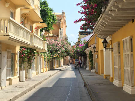 Colonial architecture on street in Cartagena, Colombia