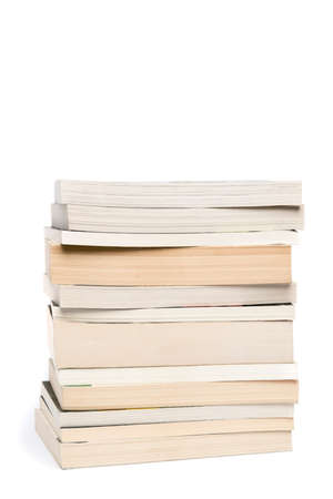 paperback: Stack of white paperback books isolated on white background with copyspace Stock Photo