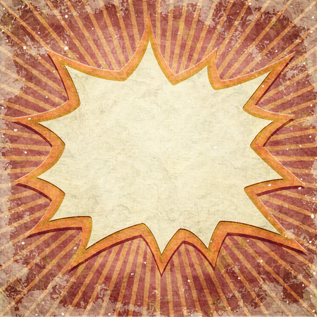 Wow frame on pattern with retro rays photo