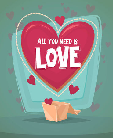 Happy Valentines day card in retro style Vector