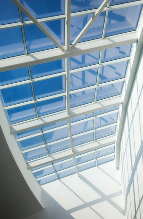 futuristic interior: Futuristic interior with huge windows