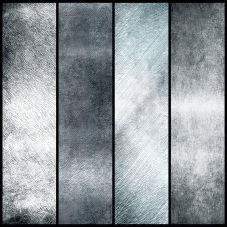 rusty metal: Silver metal banners for design Stock Photo