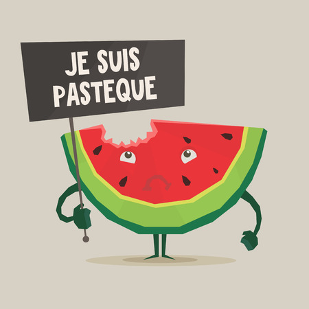 adversary: Vector colorful illustration of watermelon in flat style isolated on white Illustration