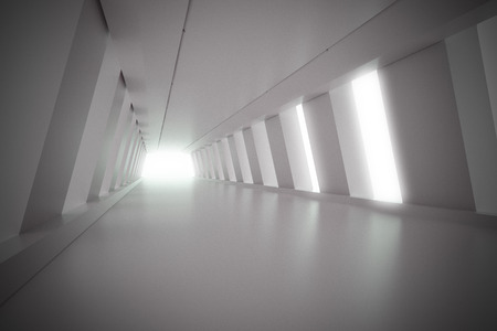 corridor: Abstract empty illuminated light blue shining corridor interior, 3d render illustration