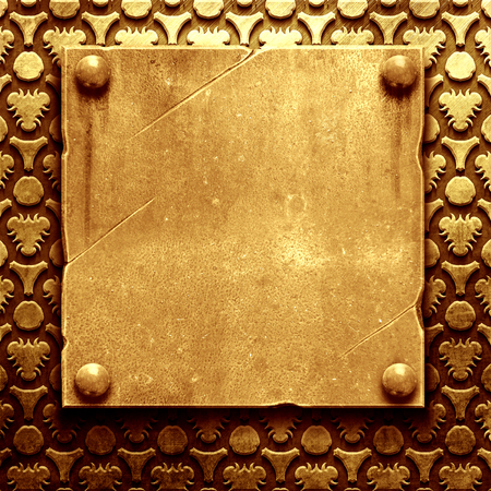 wallpaper copper gold golden: metal nameplate with classic ornament