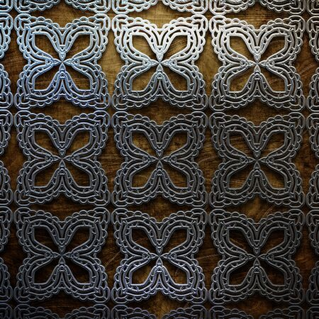 ornamental elements: wooden plate with metal ornamental elements