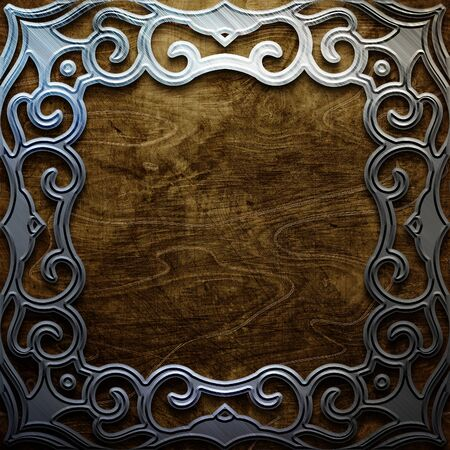 wooden plate with metal ornamental elements