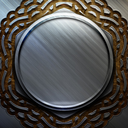 silver metal: Silver metal plate on wooden background