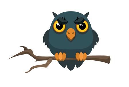 black branch: Old gloomy owl sitting on a thin tree branch