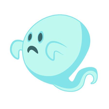 hallowen: White Ghost cartoon character for Hallowen design Illustration