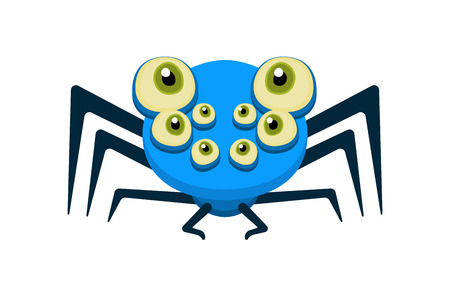 hairy legs: Cute blue spider character isolated on white Illustration
