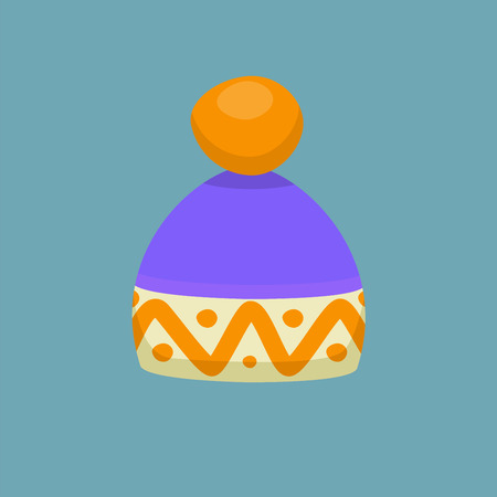 Flat style Cartoon winter hat isolated on blue background