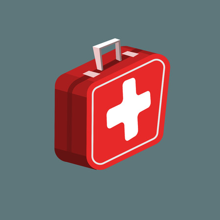 Cartoon Red first aid kit isolated on gray background Illustration
