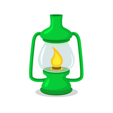 Vintage green camping lantern on white in flat and cartoon style Illustration