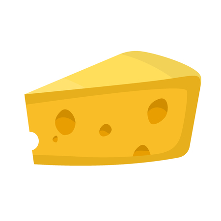 cheez: piece of yellow cheese icon isolated on white for vector food illustration Illustration