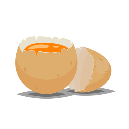 brown egg: Cracked brown egg icon for food illustration