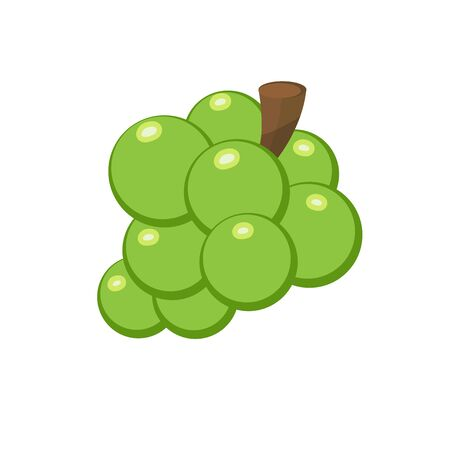 Green grape in flat cartoon style isolated on white