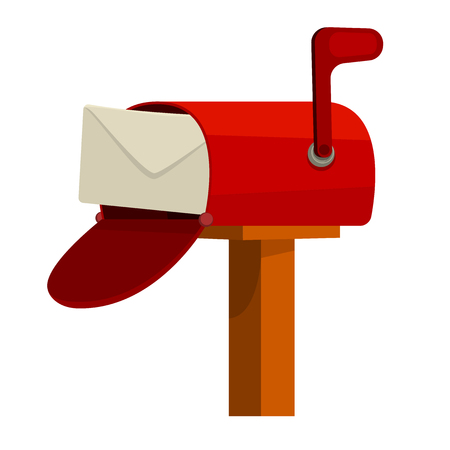 simple postbox with post in flat vector style