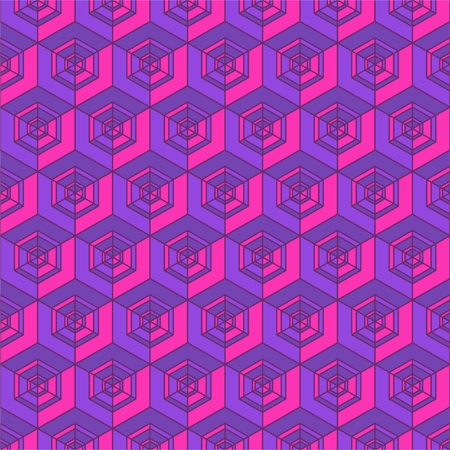 seventies: Vivid violet retro tile background with boxes inspired by seventies Illustration