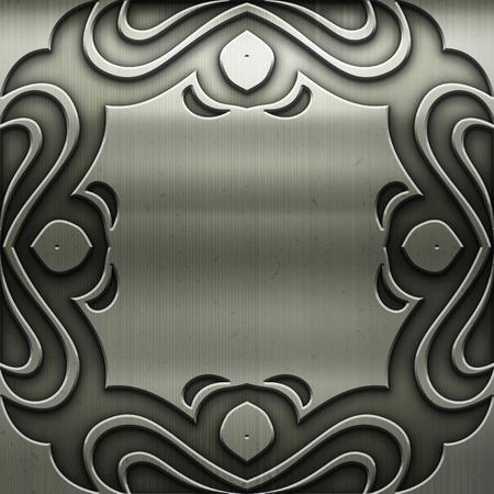 Vecchia piastra in metallo argento con motivo per l'arte classica Archivio Fotografico - 81720262