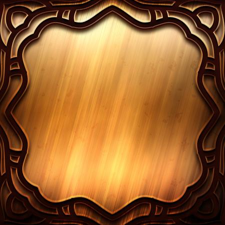 Vecchio piatto d'oro metallico con motivo per l'arte classica Archivio Fotografico - 81720266