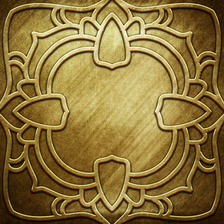 Vecchio piatto d'oro metallico con motivo per l'arte classica Archivio Fotografico - 81720286