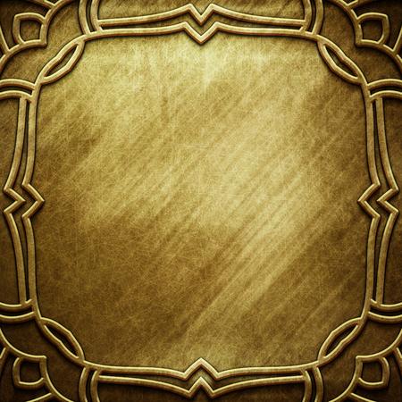 Vecchio piatto d'oro metallico con motivo per l'arte classica Archivio Fotografico - 81720292