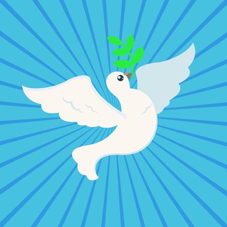Colomba della pace bianca con ramo d'ulivo per il poster della giornata internazionale della pace su sfondo ray Archivio Fotografico - 85121728