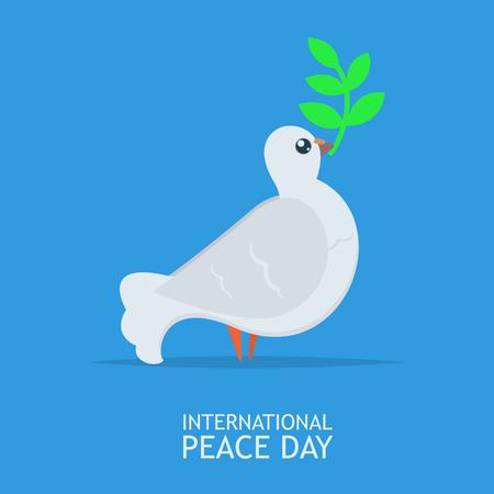 Colomba di pace bianca con ramo di ulivo per il manifesto della Giornata Internazionale della Pace sul cielo blu abckground Archivio Fotografico - 85121730