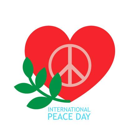 Cuore rosso, ramo verde oliva e simbolo di pace all'interno per poster o sfondo sulla giornata della pace Archivio Fotografico - 85121732