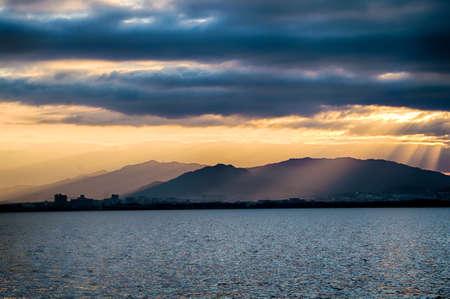 hope: Sunrise of biwa lake in new year