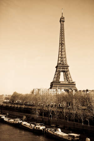 Paris, France   January 14, 2012 - Photograph of the Paris skyline with the Eiffel tower and Seine river  Editorial