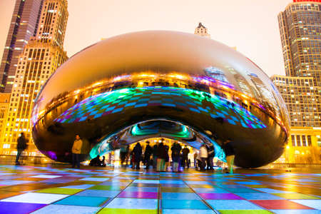 officially: Chicago, Illinois  USA  February 15, 2012 - Photograph of the art sculpture in Chicago officially named the Cloud Gate in Millennium Park   Locals call it the Chicago Bean   Editorial