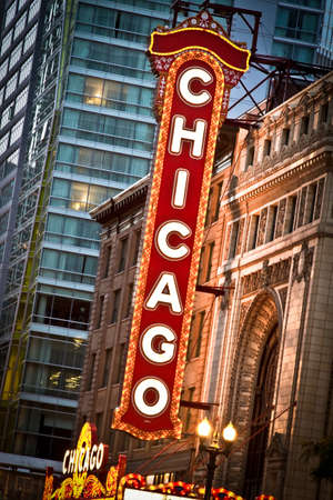 Chicago, Illinois. USA.  June 07th, 2010 - Image of the Chicago Theater sign. Photographed during twilight. Stock Photo - 12469102