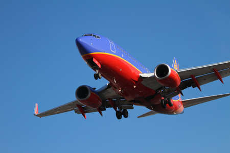 Chicago, Illinois. USA. November 06th, 2011 - Image of Southwest airplane approaching Midway Airport for landing.