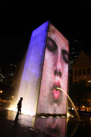 nightscene: Chicago, Illinois. USA. July 13th, 2011 -  Image of a nightscene in Chicago Millennium Park, Crown Fountain.