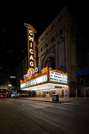 Chicago, Illinois. USA. October 7, 2011 - Image of Chicago Theater sign in the evening. Stock Photo - 12489226