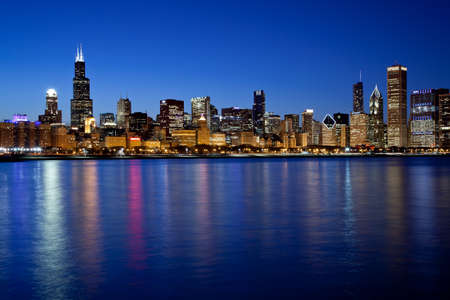 nightscene: Chicago, Illinois. USA. April 15, 2011 - Image of the Chicago skyline from the lakefront.