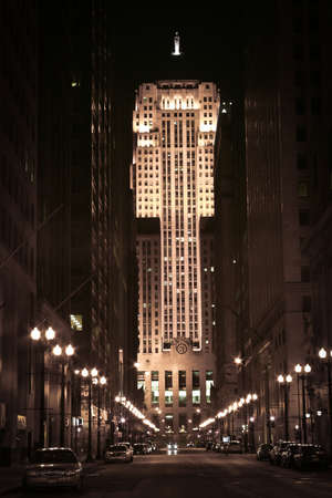 nightscene: Chicago, Illinois. USA. April 10, 2011 - Image of the Chicago Board of Trade Building at night. Editorial