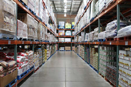 stocked: Chicago, Illinois. USA. August 6,2011 -  Image of Costco warehouse club fully stocked with food and merchandise sold in bulk.