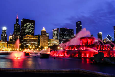 nightscene: Chicago, Illinois. USA May 10, 2010 - Image of the Chicago skyline at night. Photographed in Grant park.