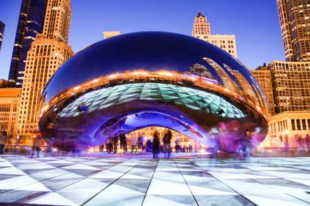 Chicago, Illinois. USA - February 12, 2012. Chicago, Illinois. Image of the Chicago Bean also known as the Cloud Gate in Millennium Park in Chicago. This lighting scheme is produced through a temporary art display at the bean. Editorial