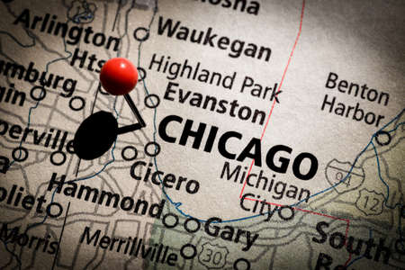 push pins: Chicago Map