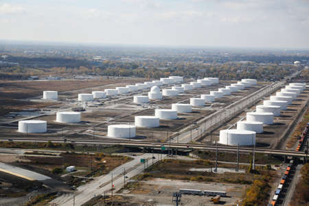 storage tank: Hammond, Indiana - USA October 20, 2012: Image of oil tank refinery field in Indiana several miles south of Chicago. Photographed from an aerial view.