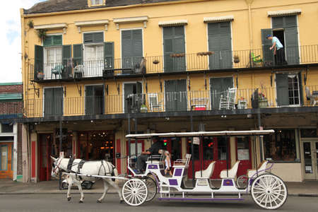 quarter horse: New Orleans, USA - April 23,2012: Street scene of the French Quarter in New Orleans.